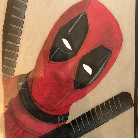 Deadpool Colored Pencil Drawing Background